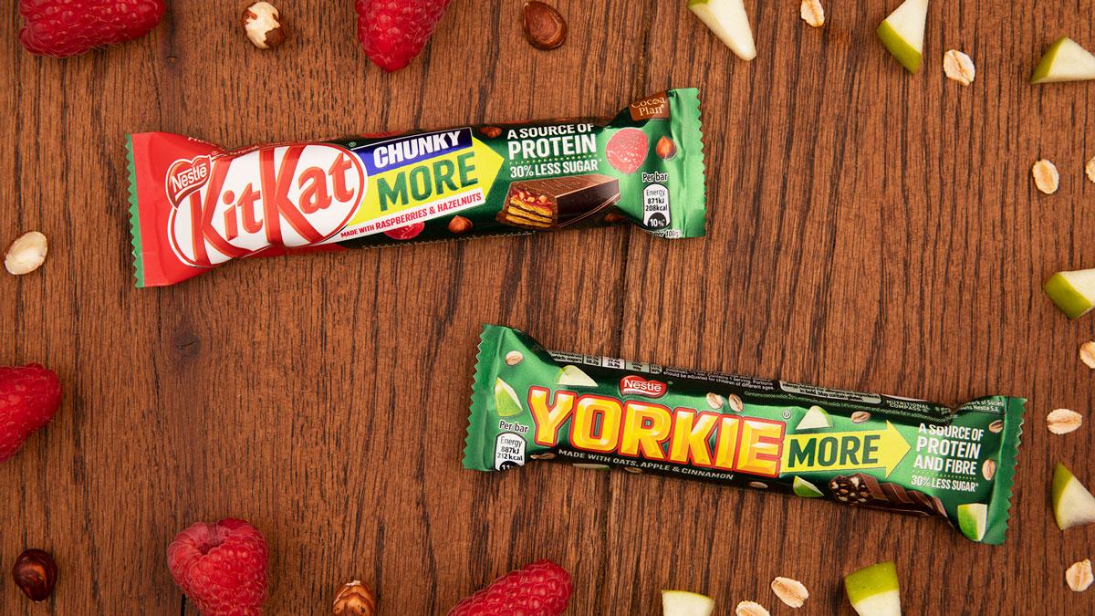 Raspberry & Hazelnut KitKat Chunky and Oats, Apple & Cinnamon Yorkie form part of Nestlé Confectionery's new 'More' range.