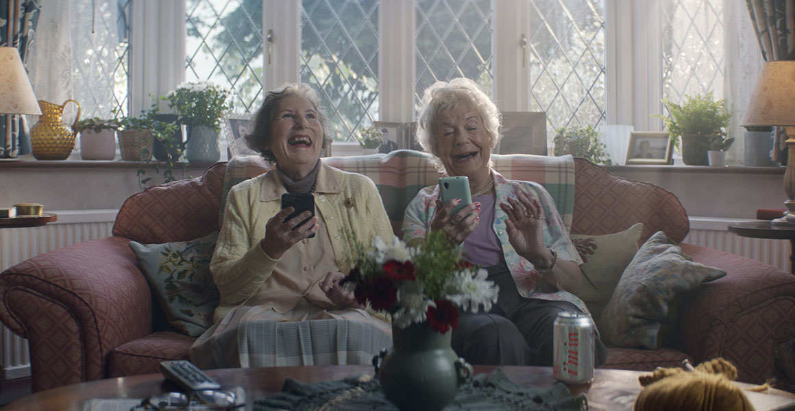 A new TV campaign for Diet Coke shows two pensioners on a dating app.