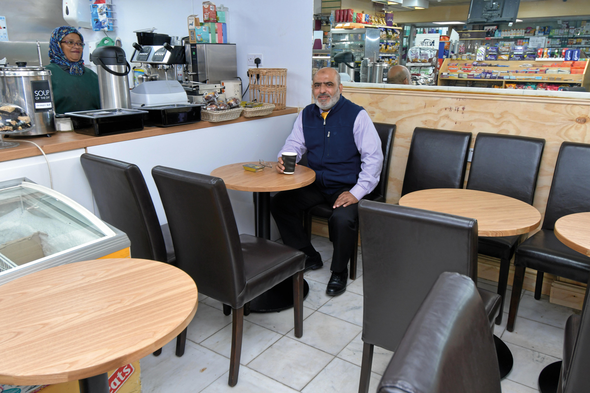Abdul Arain in his cafe