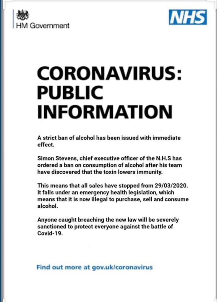 Coronavirus scams NHS public information letter