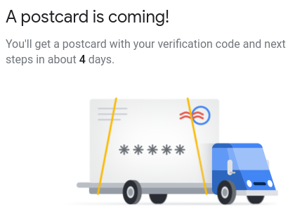 Google Maps verification code