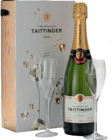 Taittinger Brut Champagne with two Flutes